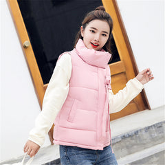 Kpop Harajuku New 2018 Autumn Winter Women Cotton Vest Duck Down Soft Warm Waistcoat Plus Size Female Outwear Ribbon Vest Coat