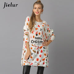Jielur Plus Size Fashion Christmas Sweaters for Women Fall Winter Navidad Printed Pullover Female Batwing Sleeve Knitted Sweater
