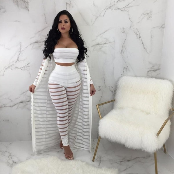 0208a0def73ca ... 2018 Sexy Hollow Out 3 Pieces Set Womens Strapless Crop Top Sheer  Stripe Mesh Pants Long ...