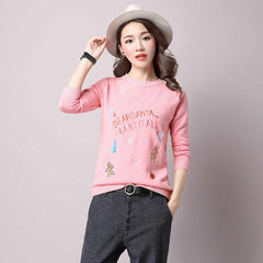 Free Shipping New Fashion 2017 Autumn Winter for womens Cashmere sweaters  loose Warm Knitted Sweet Chrismas Pullovers sweaters