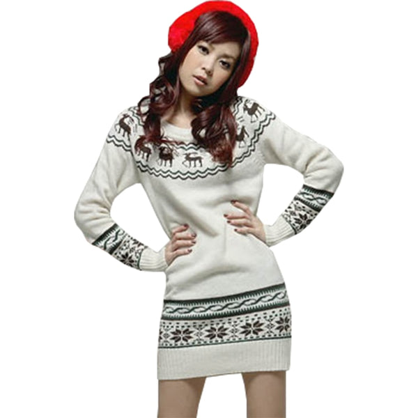 Spring Autumn new pullover Korean version Christmas snowflake pattern deer thick sweater long Slim sweater Women vestidos LXJ073