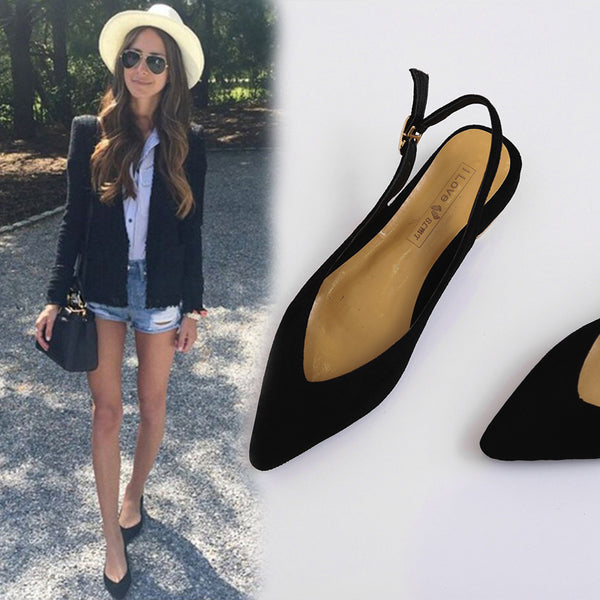 Fresh Flats Woman Heels Eleganti Flat Suede Female Toed Lady Sandals Women Sandali Summer 2018 Single Pointed Shoes xBshQrCtd