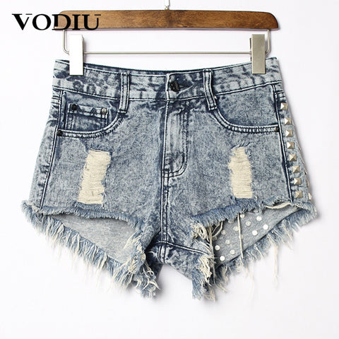 Shorts Women High Waist Hole Loose Sexy Rivets Jeans Female Cotton Zipper Pants For Ladies 2018 Summer Women Demin Shorts