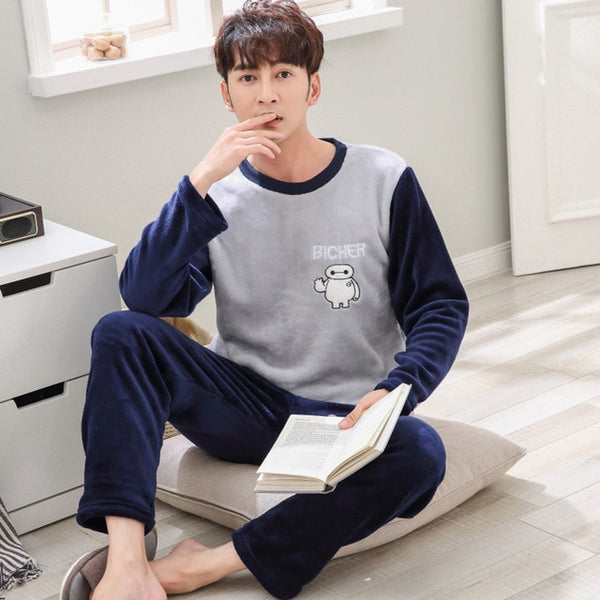 795a51c583 ... Men s Pajamas Set Autumn Winter Coral Fleece Warm Thicken Flannel Warm  Pajamas Men s Long Sleeve Nightwear