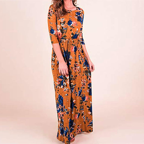 cc613a9c8060 KANCOOLD Dress Women Print Three Quarter Sleeve High Waist Boho Long M