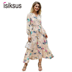 ee8737ac8e9bf Isiksus Floral Summer Maxi Dress Long Sleeve Boho Vintage Dress White Beach  Tropical Autumn 2018 Dresses for Women DR096