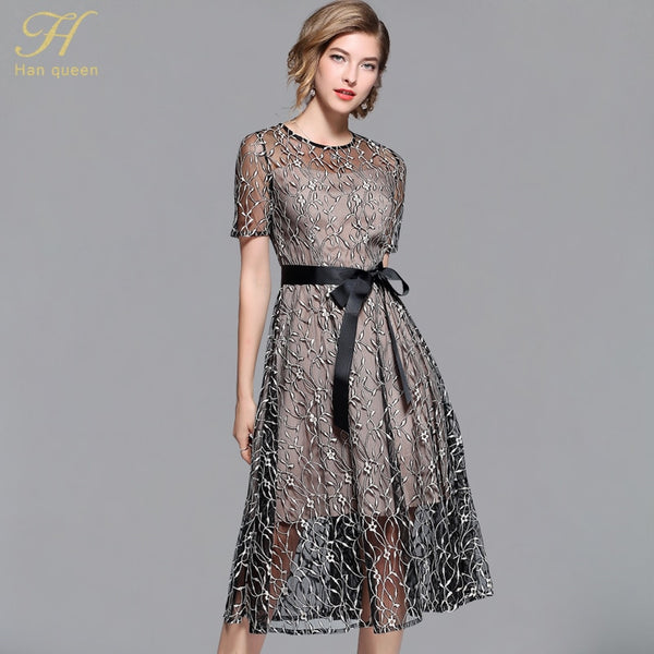 68aee1f85e93a H Han Queen 2018 Summer Bow Dresses Women's Fashion Slim Sexy Vestidos  European Short sleeve Casual Office Party Lace Dress