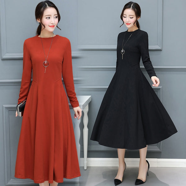 5b15a8bb5c7 2018 Autumn Winter New Plus Size Vintage Black Midi Dresses Women Bodycon  Sexy Solid Maxi Dress Party Long Sleeve Runway Vestido
