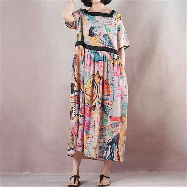 e02b4770948 ... BUYKUD 2018 Women Summer Vintage Long Printing Colorful Dresses Square  Neck Short Sleeve Maxi Casual Loose