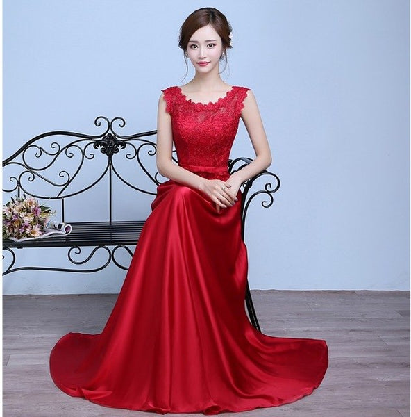 e5dcabf16ce78 Elegant Royal Blue/Wine Red Lace Satin Long Dresses For Wedding Party  Summer Prom Evening Gowns 2018 Slim Maxi Dresses Plus Size