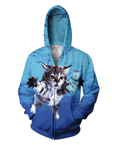 Cat Cobain Zip-Up Hoodie Kurt Cobain's Nirvana Nevermind Zipper Sweatshirts Women Men 3d Pull Jumper Coats Hoodies Outfits Tops
