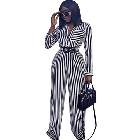 Women Casual Two Pieces Sets Striped Long Sleeve Top Blouse Shirts and Elastic Waist Wide Leg Pants Femme Loose 2 Pieces Outfits