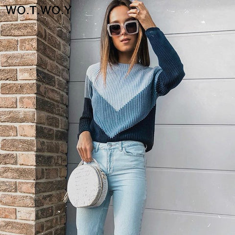 WOTWOY Autumn Winter Sweater Women Contrast Color Casual Pullovers Women Long Sleeve O-Neck Knitted Tops Women Jumper Femme Soft