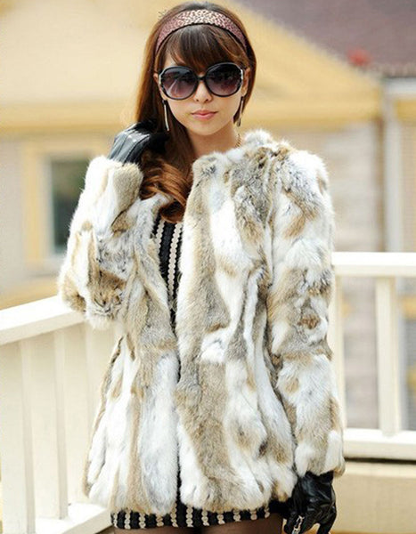 Hot Sale Natural Fur Coat Winter Handmade Genuine Pieces Of Rabbit Fur Coats For Women Winter Fur Jackets Free Shipping YC102