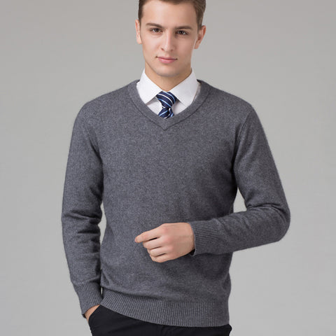 Sweater Man 100% Pure Cashmere Knitted Winter Warm Pullovers V-neck Long  Sleeve Standard 016cb9f13