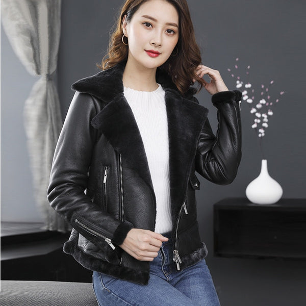 a5b2cb553 TEXIWAS Genuine Leather Jacket women Winter Warm Thicken Shearling One Fur  coat real Leather female bomber Jacket outerwear