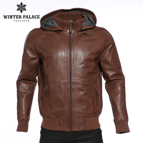 new products Fashion jackets leather men Dark coats Upscale brown Hooded jacket leather Leather jacket leather and Genuine mens kZuwOXPTi