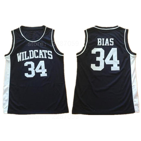 f966743cb Ediwallen University Wildcats 34 Len Bias Jersey High School Stitched Black  Vintage Len Bias Basketball Jerseys