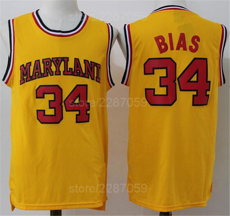 newest 74f0d cbd03 Ediwallen University 34 Len Bias Basketball Jerseys Cheap Vintage College  1985 Maryland Terps Jersey Men Yellow White Red Sale