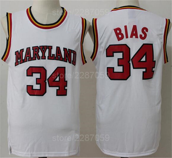 brand new ddccf 53df0 Ediwallen Vintage College 34 Len Bias Jersey Men 1985 Maryland Terps  University Jerseys Basketball Uniforms Sport Quality