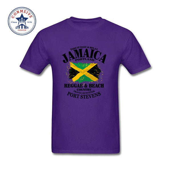 ce536b955 ... Hot High Quality Cotton Round Collar Reggae   Beach Country Jamaica  Portland Flag Funny T Shirt ...