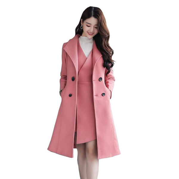 af0bb2af3da7 Product Image Office Dress Suit for Women Long Double Breasted Jacket and  Mini Dress 2 Piece Dresses Set ...