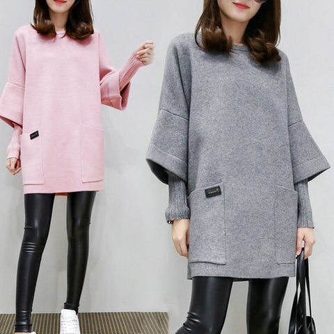 Women Fake Two Pieces Sweatershirt Winter Autumn Thick Tops Loose Pullover Plus Size -MX8