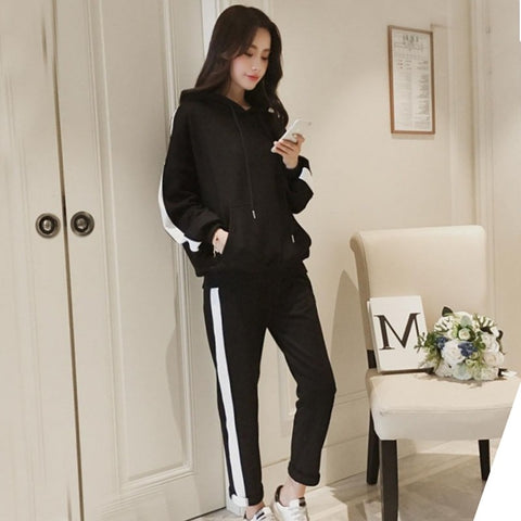 Women Clothing 2 Piece Set Autumn Tracksuit Long Sleeve Thicken Hooded Sweatshirts Casual Set Tops+Pants Sporting Suit Female F1