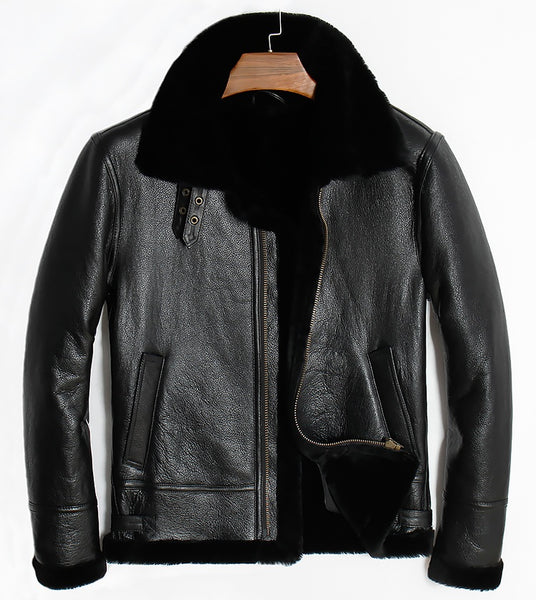 100% authenticated lace up in online retailer Free shipping,winter Sheep fur coat,motor wool Shearling,man's warm leather  jacket,mens sheepskin coat.plus size black jackets.