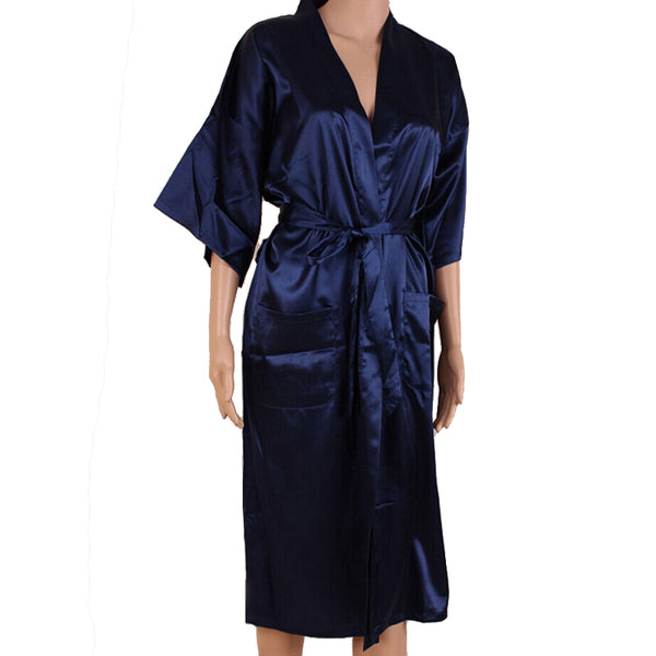 Navy Blue Men Sexy Silk Rayon Kimono Bathrobe Gown Chinese Style Male Robe Nightgown Sleepwear Plus Size S M L XL XXL XXXL MR006