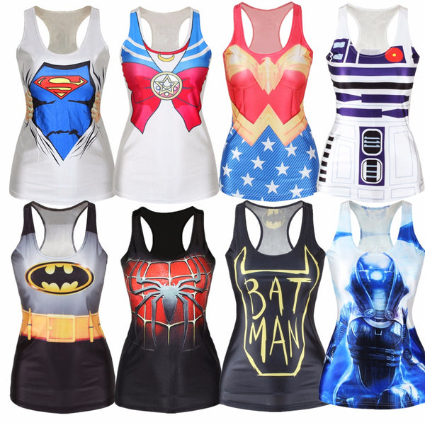 Hot 2016 Summer Popular Tank Tops Women 3D Vest Harajuku Print Camisole Sexy Fashion Punk Girl Slim 21 Style