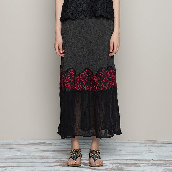 7c716b48c5b ... Jiqiuguer 2019 Summer Long Skirts Embroidery Vintage Women s Skirt  Loose Casual Plus Size Ladies Skirt Female
