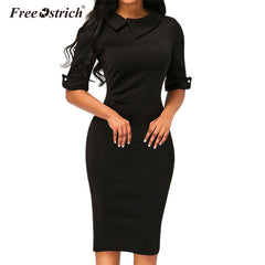 Free Ostrich Dress Women Turn-down Collar Spring Office Lady Half Sleeve Knee-Length Dresses Sheath Solid vestido B1240