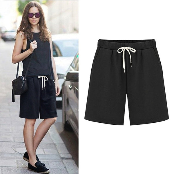 1f3acdc7ad ... 2019 Large Size Summer Cotton Casual women shorts Plus Size Loose  Ladies shorts Female Solid Color ...