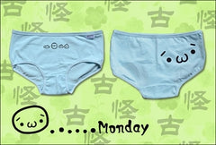 Women Anime Kaomoji-kun Emoticon Intimate Panties Sun-Mon Underwear Cosplay