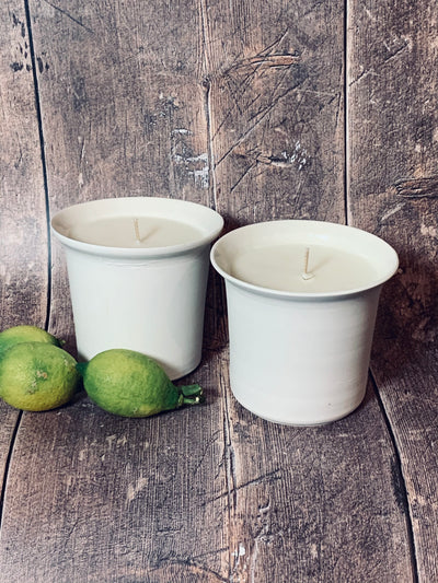Lucy Porcelain Soy Wax Candle with Eucalyptus and Rosemary Aromatherapy Oils.