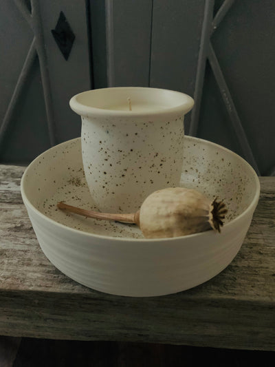 Speckled Candle and Ceramic Tray Gift Set