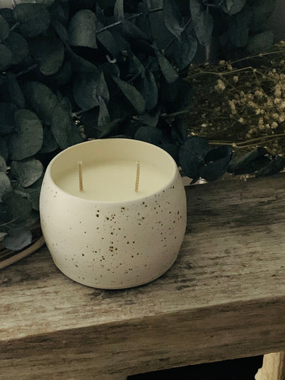 Double Wick Stoneware Speckled Candle