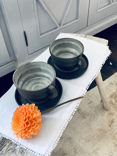 Black Stoneware Cup and Saucer Set