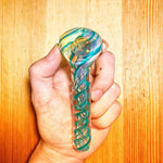 Turquoise Spiral Glass Pipe | Weed Bowls For Sale | Free Shipping