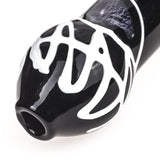 Black Glass Pipe White Stripes  Spoon Pipes For Sale  Free Shipping