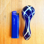 Blue Portable Glass Pipe White Stripes For Sale | Free Canada Shipping