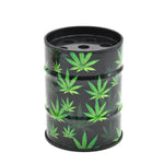 Marijuana Leaves Oil Drum Shaped Tin Ashtray For Sale | Free Shipping
