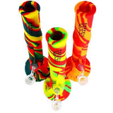 "Piranha Silicone Water Pipe 14"" Two Piece w/ Glass Downstem - Assorted Colors"