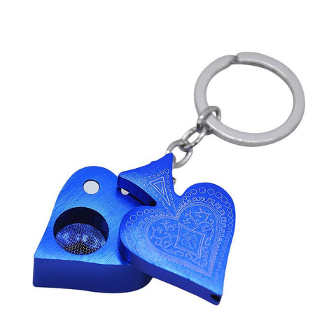 "Key chain Metallic ""Hearts"" Poker Portable Pipe 