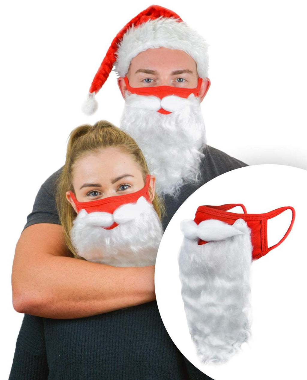 Holiday Santa Beard Face Mask Costume for Adults