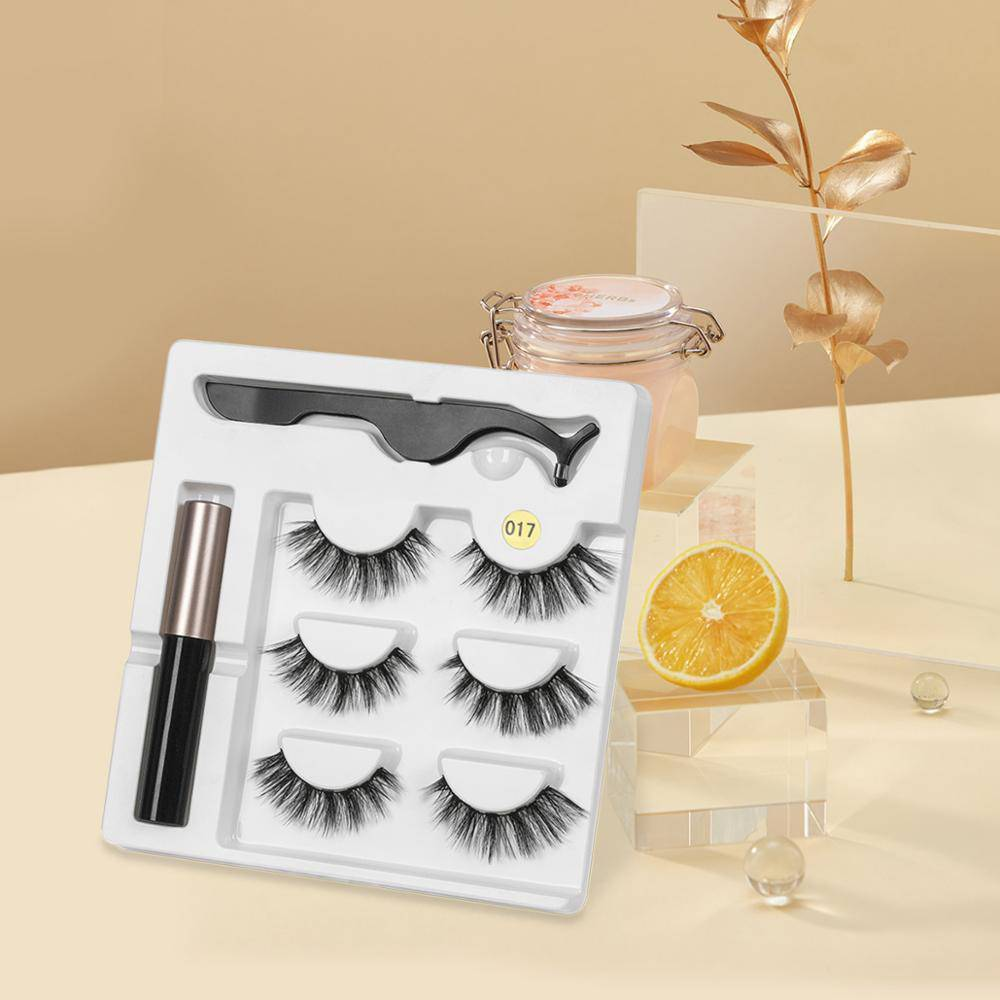 Magnetic Eyelashes and Eyeliner 3 Pairs Set
