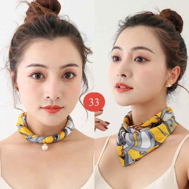 Pearl Pendant Printed Silk Scarf Necklace