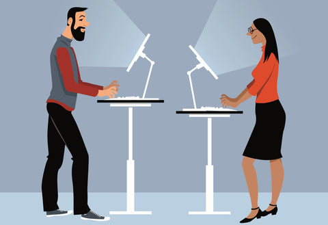 couple at standing desks