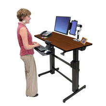"Load image into Gallery viewer, Ergotron WorkFit-D 48"" Wide Pneumatic Adjustable Height Standing Desk-Pneumatic Standing Desks-Ergotron-Walnut-Black-Ergo Standing Desks"